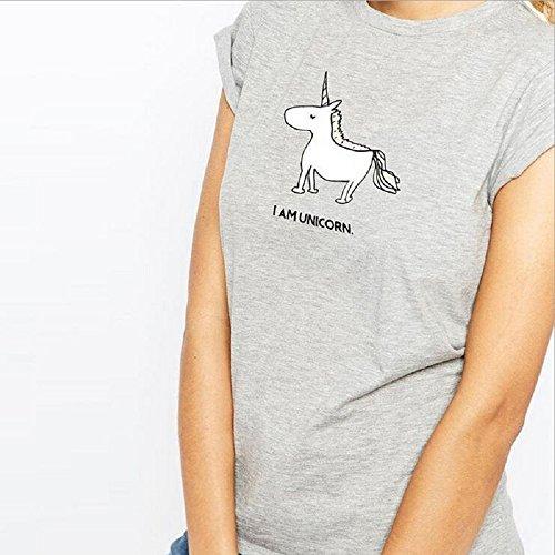 Colorfulwrold Unicorn Kurzarm Bluse T-Shirt Damen Baumwolle ein Einhorn Motiv von Kurze ärmel (M)