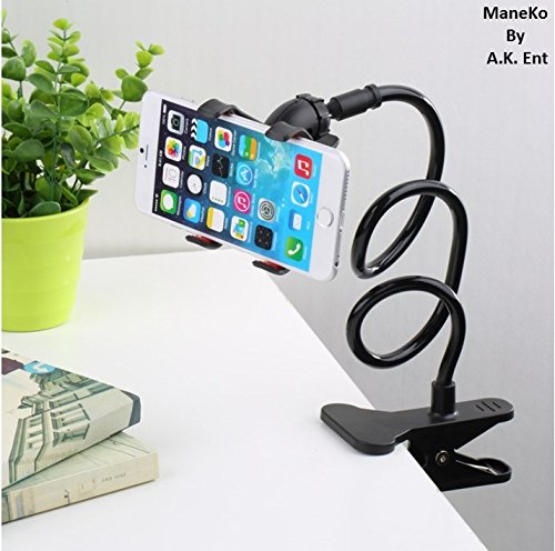 ManeKo Universal Mobile Phone Holder Long Neck Length Lazy Stand Snake Style 360 mount in Bed, Car, sofa, Table - Black Color  available at amazon for Rs.155