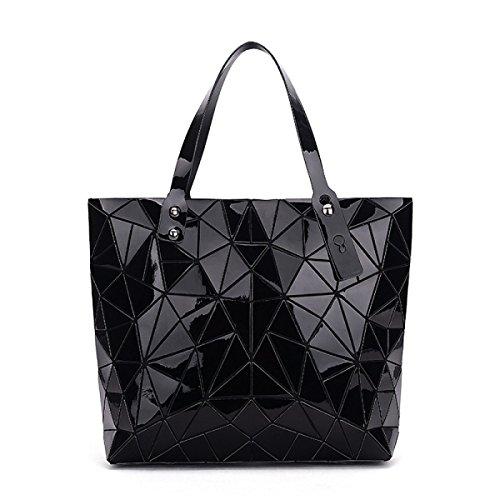 Hand Lingge Paket Geometrie Laser- Gefaltet Mode Handtaschen Black
