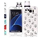 Funda Samsung Galaxy S7 Edge Pequeño panda Transparente Squishy Kawaii Juguete Toy Animal Silicona TPU Clear Transparente Gel Bumper Shell Back Cover Inquebrantable Carcasa Cute para Chicas