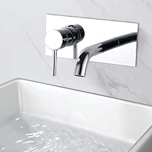 Rubinetto Lavabo a Parete per bagno WA112 con Corpo a Incasso Argento Mai /& Mai Miscelatore per Lavabo a Muro