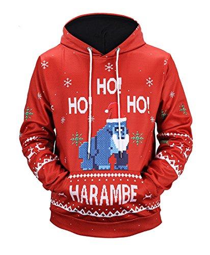Honeystore Herren Damen 3D Druck Sweatshirts Weihnachten Pullover mit Aufdruck Herbst Hemd Kapuzenpullover Langarm Top Jumper Shirt Utan XXL