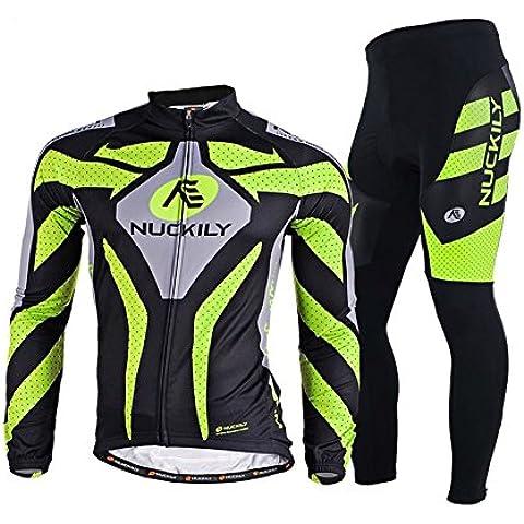 elear® hombres de manga larga traje ciclismo camisetas bicicleta equitación pantalones profesional bicicleta ropa ciclismo bicicleta bicicleta Trajes cómoda secado rápido, hombre, color Black&Green, tamaño