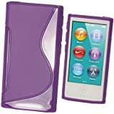 igadgitz Zweiton Lila Dauerhafte Kristall Gel Tasche TPU Hülle Schutzhülle Etui für Apple iPod Nano 7. Gen Generation 7G 16GB + Displayschutzfolie