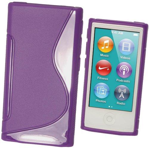 igadgitz Zweiton Lila Dauerhafte Kristall Gel Tasche TPU Hülle Schutzhülle Etui für Apple iPod Nano 7. Gen Generation 7G 16GB + Displayschutzfolie (Generation Ipod 3. Apple 8gb)