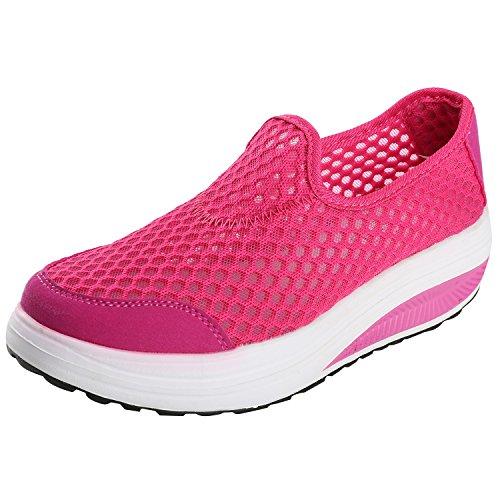 Alexis Leroy Piattaforma, Scarpe da ginnastica Low-Top Sneaker con Zeppa Donna Rosa Rossa