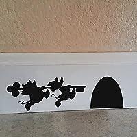 "Dibujos animados adhesivo–Mickey y Minnie Mouse de la Casa Pared Vinilo Adhesivo, vinilo, negro, 9.5""w x2.5""h"