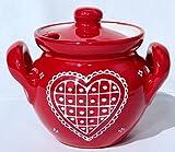Keramik Honigtopf / Marmeladentopf rot mit handbemalten weißem Herz motiv 0.4 L