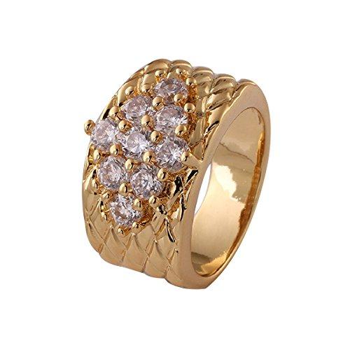 joyliveCY 2016Fashion Damen elegante SZ7Punk Stil vergoldet Herren Rund Kupfer Ring mit CZ eingelegten