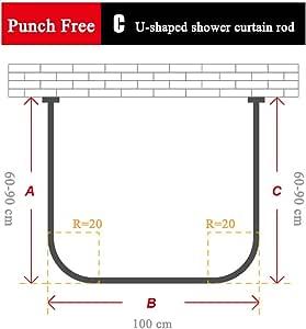 zkorn tringle rideau de douche en forme de u tringle rideau de douche t lescopique en acier