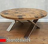 dasmöbelwerk Massivholz Recycling Holz Antik Look Beistelltisch Couchtisch Treibholz Ø 100 cm AF-2035M