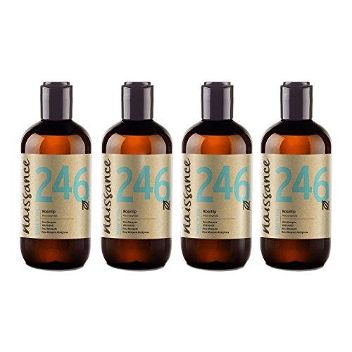 Naissance reines & natürliches Wildrosenöl/Hagebuttenkernöl (Nr. 246) 1 Liter (4 x 250ml) - feuchtigkeitsspendend, nährend & pflegend für alle Hauttypen - für Haare, Gesicht, Haut und Nägel