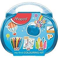 Maped Color'Peps Malette de Coloriage pour Bébé et Enfant dès 1 an – Kit Premier âge avec 10 Feutres Jumbo + 12 Craies de Cire Jumbo + 1 Poster Géant à Colorier