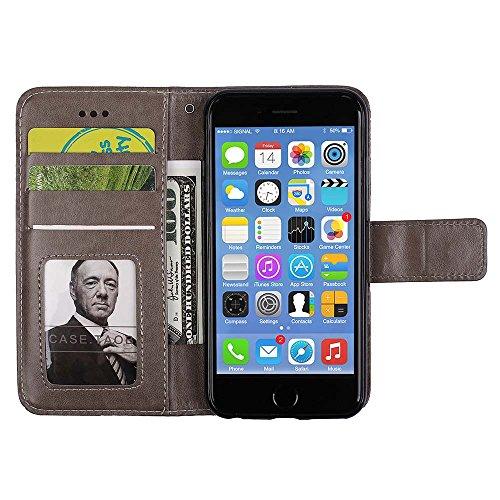 Custodia IPhone 6S /6 PLUS, ESSTORE-EU Custodia in Pelle con Slot per Schede,Stile Libro,Custodia Portafoglio per IPhone 6S / 6 PLUS con Funzione di Supporto e Chiusura Magnetica, Oro Grigio