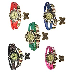 Krupa Enterprise Multicolour Analog Bracelet Watches pack of 5