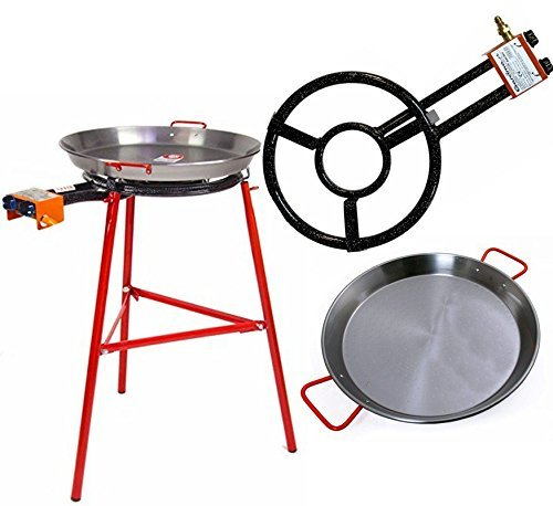 Paella Pan + Paella Burner and Stand Set - Complete Paella Kit for up to 14 Servings by Garcima