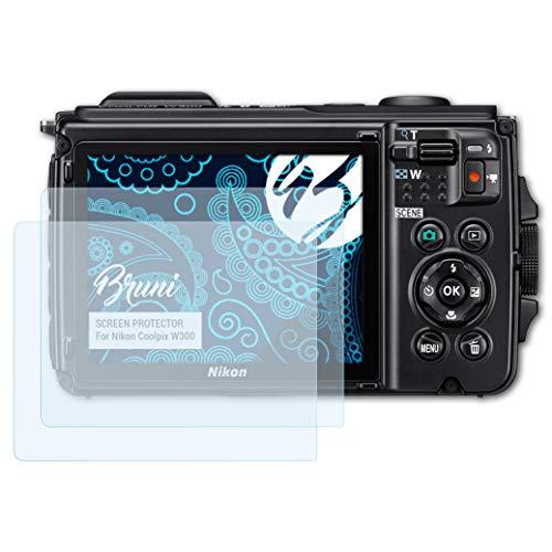 Bruni Schutzfolie kompatibel mit Nikon Coolpix W300 Folie, glasklare Displayschutzfolie (2X)