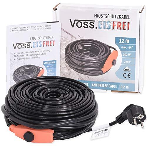 Frostschutz Heizkabel mit Knopf-Thermostat | VOSS.eisfrei | 1m 2m 4m 8m 12m 14m 18m 24m 37m 49m | 230V | Heizleitung Zum Schutz von Wasserleitungen und Weidetränken