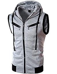 Homme T-shirt Sans Manches à Capuche Casual Jogging Athletic Fitness Haut Gilet