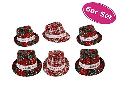 Hut Weihnachten Merry Christmas 6er Set - Haarschmuck, -