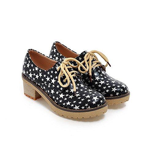 AgooLar Damen Gemischte Farbe Weiches Material Mittler Absatz Schnüren Pumps Schuhe Schwarz