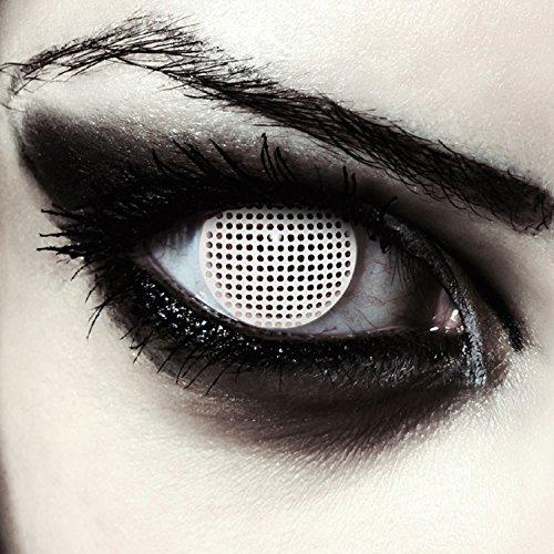 Weiße farbige Zombie Kontaktlinsen für Halloween Kostüm Gitternetz, 2 Stück, Designlenses, Model: White Screen (Natürliche Weiße Halloween-make-up)