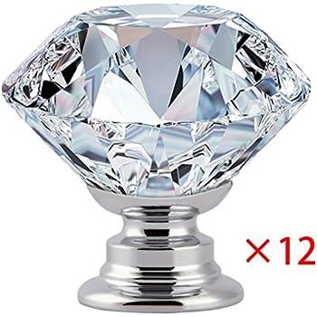 Cabinet Drawer Knobs Handles 12PCS 30mm YIODU Diamond Crystal