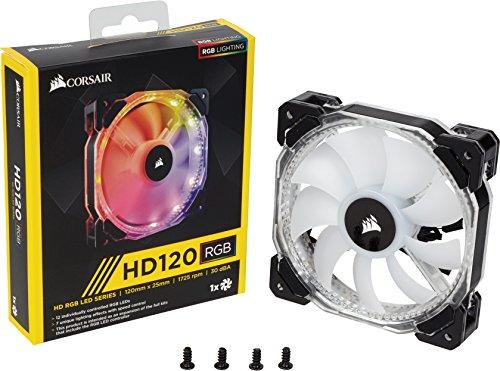 Corsair HD120 Computer case Fan - Ventilador de PC (Carcasa del ordenador, Ventilador, No compatible, No compatible, Negro, Color blanco, De plástico)