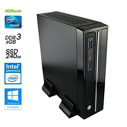 SNOGARD Mini Slim Speed PC mit Intel Pentium J4205 bis zu 4x 2,6Ghz, 8GB DDR3 2133 RAM, 240GB SSD, Intel HD Grafik (VGA+DVI+HDMI), LAN, Sound