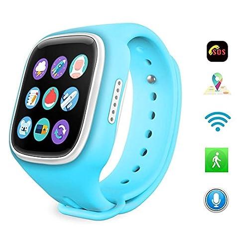 Joyeer Puce GPS Watch For Kids + wifi + APGS + base station enfants montre-bracelet avec SIM carte GSM anti-perdue pour IOS Android téléphone , blue