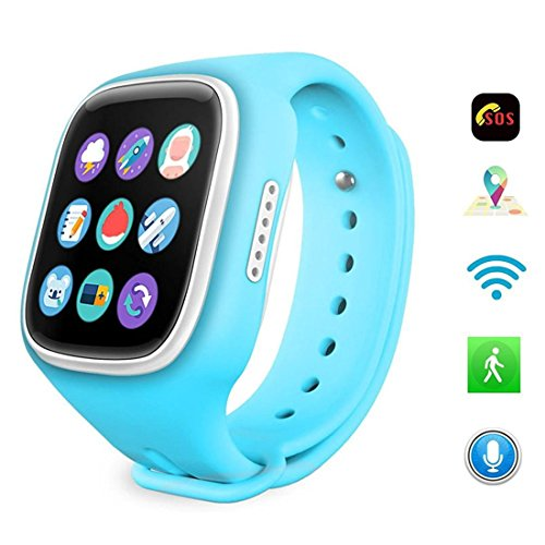Leydee Smart Watch For Kids GPS + wifi + APGS + stazione base bambini orologio da polso con telefono cellulare SIM Card GSM telefono anti-perso per Android IOS , blue