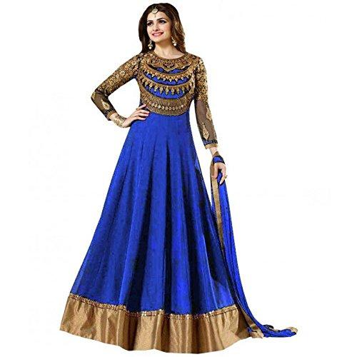 Mordenfab Royal Blue Heavy Diamond Work Neck Bollywood Suits for Women Indo-Western...