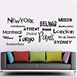 Dalxsh New York London Paris Vinyl Wandaufkleber Zitat World City Names AufkleberTapeteWohnkulturTapete38X14 Cm