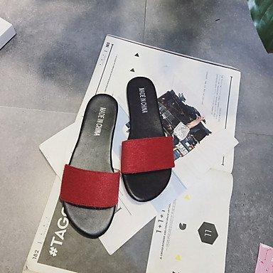 LvYuan Da donna Sandali PU (Poliuretano) Primavera Estate Piatto Bianco Nero Rosso Schermo a colori Meno di 2,5 cm screen color