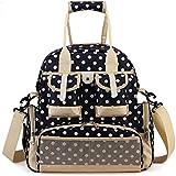 Hie 4-way Baby Diaper Storage Backpack Bag, Polka Dots Large Capacity w/ Waterproof Fabric