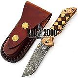 PAL 2000 Couteau Pliant, Couteau de Poche, Couteau Fait Main personnalisé, Couteau en Acier Damas, avec étui en Cuir, Couteau de Chef, Couteau de Cuisine forgé à la Main 9594