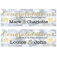 2 Personalised Engagement Banners - Congratulations ON Your Engagement (Approx 3ft x 1ft)