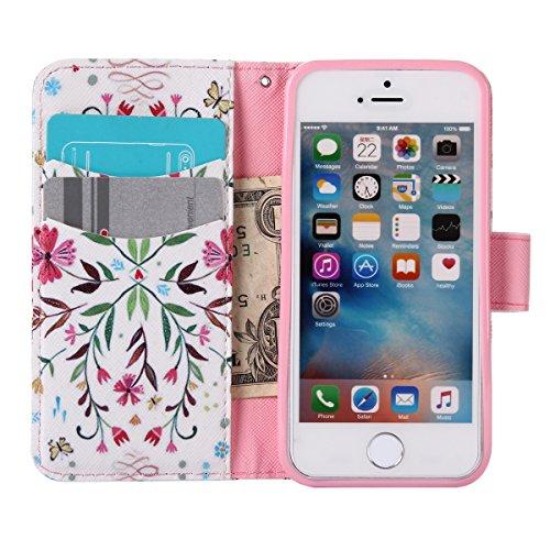 Custodia iPhone SE, Custodia iPhone 5S a portafoglio, Tebeyy Premium, motivo Fiore/Animale/ Personaggi, in pelle PU [chiusura magnetica] con fessura per carte per Apple Iphone SE/5S/5, Cavalletto, Por Branch