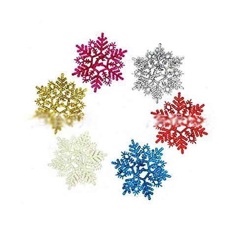 HuaYang 6 Stück Schneeflocken Weihnachtsbaum Hängend Ornamente Party Haus Urlaub Dekor