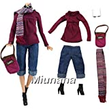 Miunana Vêtement Pour Barbie + 1 Paires Chaussures Pour Barbie + Cache Nez + Lunettes de Soleil Avec Sac à Main)