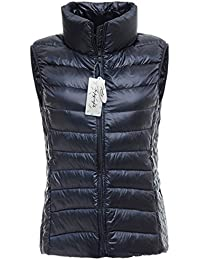 Topgraph Chaleco de Mujer Portátil de Plumón Ligero plegable de pluma Acolchado de invierno Portátil de Plumón Puffer Jacket