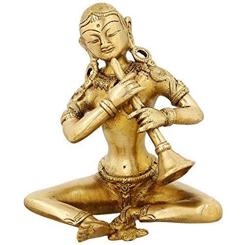 ShalinIndia Frau Musiker Messing Statue-Figur der Frau Spielen Shehnai-12,7cm hoch-Handwerker in Handarbeit in Indien