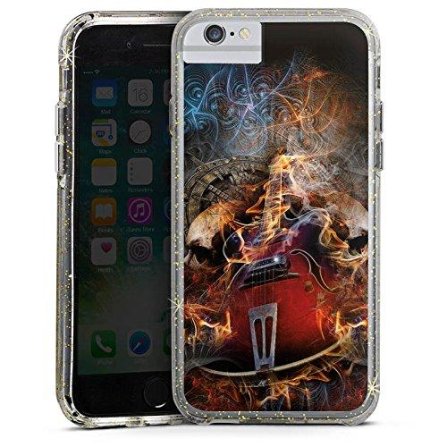 Apple iPhone 7 Bumper Hülle Bumper Case Glitzer Hülle Gitarre Totenkopf Skull Bumper Case Glitzer gold