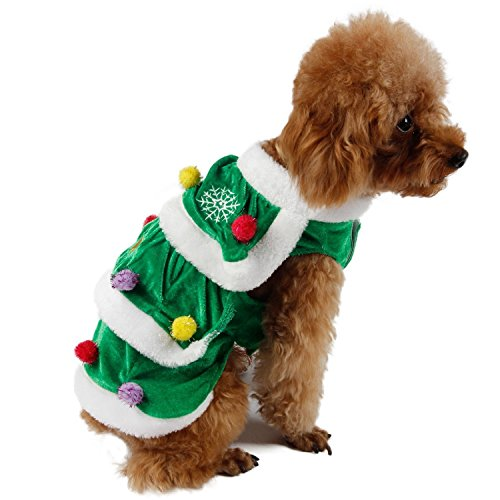 PAWZ Road Dog Winter Clothes Christmas Tree Gift Design Double Layers Soft and Warm Very Cute 7 Sizes