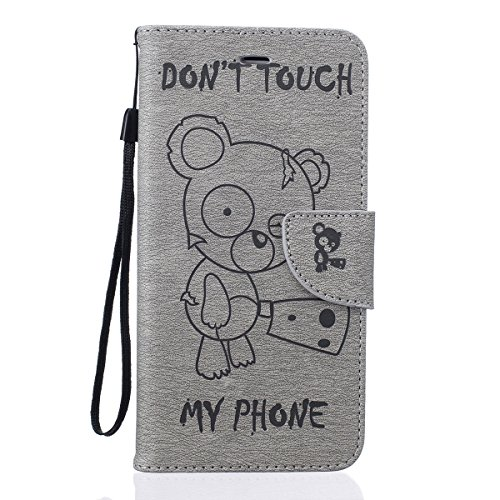 iPhone SE Hülle,iPhone 5 5S Ledertasche,JAWSEU Lanyard Prägung Bär DON'T TOUCH MY PHONE Muster Retro/Vintage Handyhülle Tasche Cool lustig Tier Brieftasche Folio Tasche Hüllen Handycover Schutz Cases  Bär,Grau