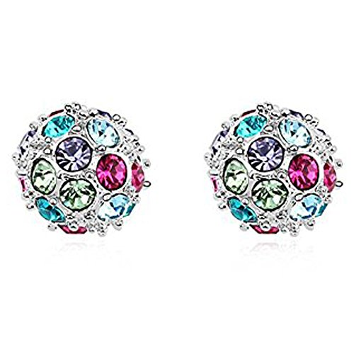 Tresor Depot di orecchini stile Shamballa con cristallo Swarovski Element nove colore-Multi colore - Multi Orecchini A Cristallo Di Colore