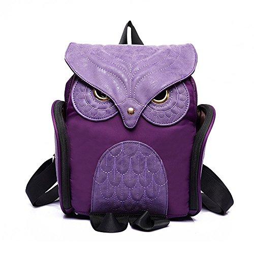 Nuovo X Feeling-Gothic-Zaino, motivo: Gufo alla moda, in pelle sintetica, per donna, colore: nero Purple