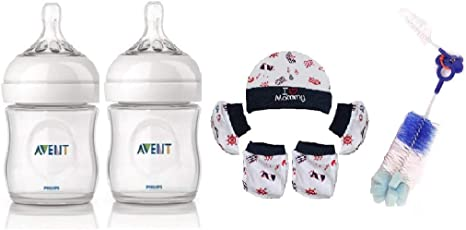 Philips Avent Natural Feeding Bottle 0 Months+ (125ML) (Pack of 2) with Baby Skin Friendly Cap Mitten Booties Set 0-6 Monhs (Color & Design May Vary) and Bottle & Nipple Cleaning Brush Free