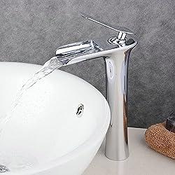 Beelee Rubinetto alta a cascata per lavabo ,Rubinetto maniglia singola,Rubinetto miscelatore monocomando per lavabo, cromo lucido