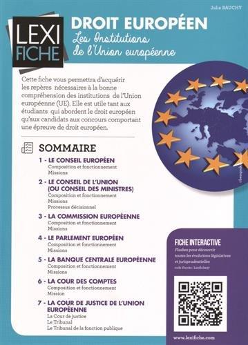 Droit européen : Les institutions de l'Union européenne par Julie Bauchy